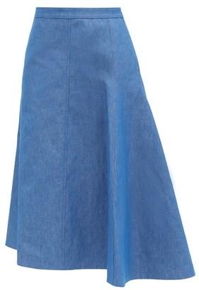 Jil Sander Mia Asymmetric Cotton-blend Midi Skirt - Blue