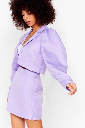 Nasty Gal Womens Like It's Jacquard Cropped Puff Sleeve Blazer - Black - 10