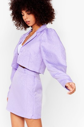 Nasty Gal Womens Like It's Jacquard Cropped Puff Sleeve Blazer - Black - 6