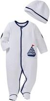 Little Me Simple Sailor Footie & Hat Set (Baby Boys)