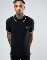 Fred Perry Check Knit Polo Shirt in Black