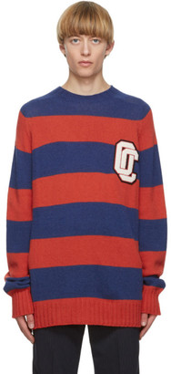 Opening Ceremony Red and Blue Alpaca Striped OC Sweater