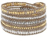 Chan Luu Women's Gold Pated Silver Mix Sectioned Metallic Crystals Ribbon Wrap Bracelet
