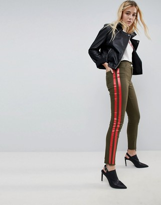 Asos Design Deconstructed Skinny Trousers with Side Stripe in Khaki