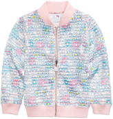 Hello Kitty Printed Shadow-Stripe Scuba Bomber Jacket, Toddler Girls