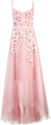 Marchesa empire line embroidered dress