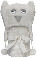 """Elegant Baby Giftable Cream Owl Aviator Hat with Fleece Lining and Soft, Cream, 30x34"""" Ultra Plush, Soft Stroller Blanket by"""