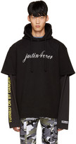 Vetements Black justin Forever Double Sleeve Hoodie