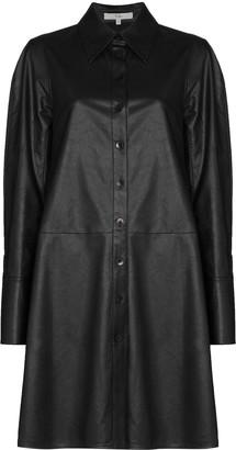 Tibi Faux Leather Shirt Dress