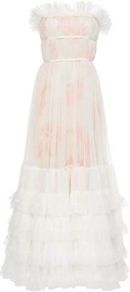 Giambattista Valli Strapless Ruffled Tulle Gown