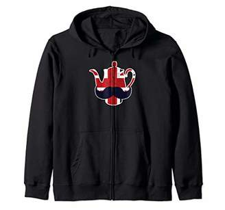 Funny Union Jack Great Britain Teapot With Mustache Gift Zip Hoodie