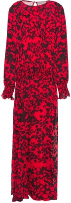 Preen Line Shirred Ruffle-trimmed Floral-print Georgette Maxi Dress