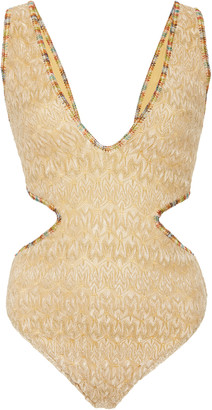 Missoni Mare Gold Wave Cutout Crepe One Piece Swimsuit