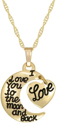"""Forever last 10kt """"I LOVE YOU TO THE MOON AND BACK""""charm with GF chain"""