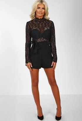 Pink Boutique Queen Bee Black Crochet Top Long Sleeve Playsuit