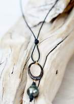 Designs By Alina Leather Necklace With Pave Diamond Oval Pendant And Single Tahitian Pearl