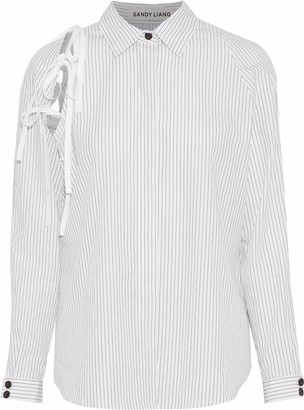 Sandy Liang Lena Lace-up Pinstriped Cotton-poplin Shirt
