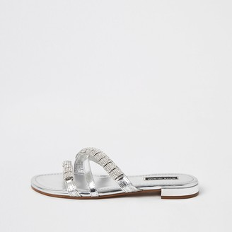River Island Silver leather embellished strappy sandals