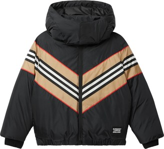 Burberry Kids' Icon Stripe Panel Hooded Down Jacket