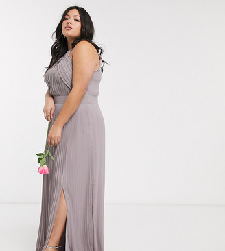 TFNC Plus bridesmaid exclusive pleated maxi dress in grey