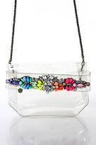 Shourouk Clear PVC Rainbow Crystal Embellished Crossbody Evening Handbag