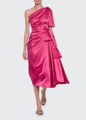 Dolce & Gabbana Silk-Taffeta One-Sleeve Ruched Cocktail Dress