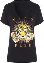 Jane Norman Choker Neck Printed T-Shirt