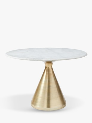 west elm Silhouette Marble 4 Seater Pedestal Dining Table, Bronze