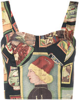 Simon Miller portrait print bustier top - women - Cotton - 0