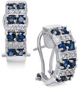 Macy's Sapphire (1-5/8 ct. t.w.) and Diamond (1/4 ct. t.w.) Curved Drop Earrings in 14k White Gold