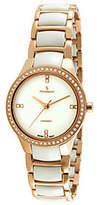 Peugeot Women's Swiss Ceramic Rose Goldtone Bezel Link Watch