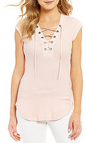 William Rast Gordon Trifecta Lace-Up Top