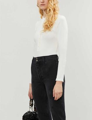 Reformation Nisa button-up cotton-blend jersey bodysuit