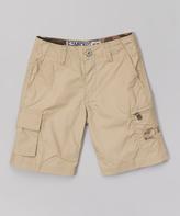 Micros Khaki Woven Cargo Shorts - Toddler