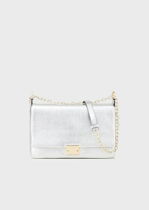 Emporio Armani Shoulder Bag In Grained And Laminated Leather With Triangular Closure