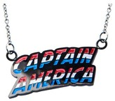 "Marvel Women's Captain America Lettering Stainless Steel Pendant with Chain (18"")"