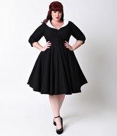 Unique Vintage Plus Size Black & White Sleeved Eva Marie Dress