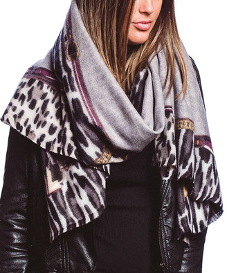 Barrington Women's Accent Scarves GRAY - Gray & Black Leopard-Trim Scarf - Women