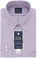 Eagle Men's Non Iron Stretch Collar Regular Fit Tattersall Buttondown Collar Dress Shirt