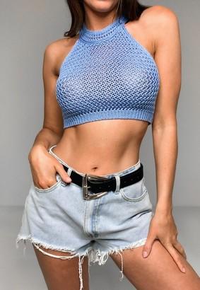 Missguided Petite Blue Crochet Halter Neck Crop Top