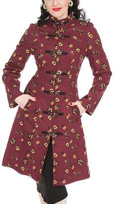 Hearts & Roses London HEARTS & ROSES LONDON Women's Car Coats - Burgundy Kittens Corset-Back Military Jacket - Women