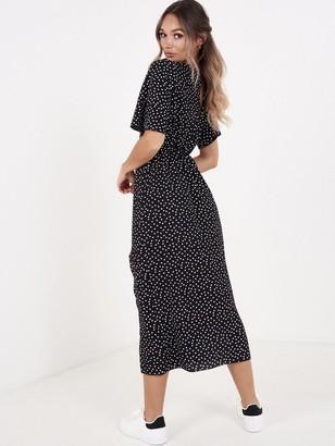 Quiz Crepe Polka DotSplit Front Dress - Black