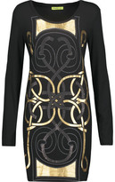 Versace Embellished Printed Stretch-Jersey Mini Dress