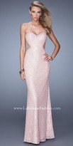 La Femme Beaded Lace Illusion Jeweled Prom Dress