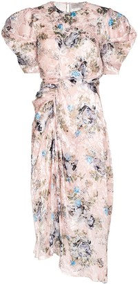 Preen by Thornton Bregazzi Puff Sleeve Floral-Print Jacquard Midi Dress