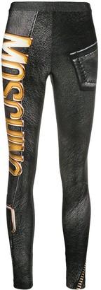 Moschino Faux Leather Logo Print Leggings