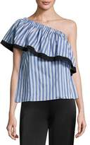 Milly Ruffled One-Shoulder Striped Top, Blue