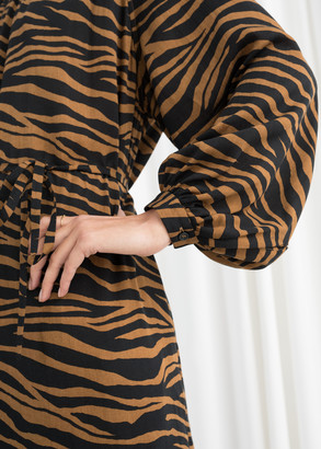 And other stories Oversized Belted Zebra Midi Dress