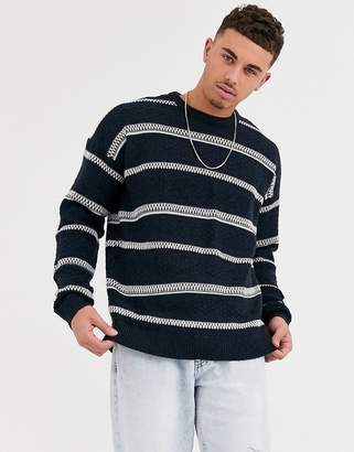ONLY & SONS knitted jumper with chunky woven stripe-Navy