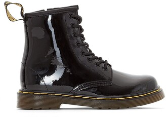 Dr. Martens Kids Delaney Lace-Up Patent Leather Ankle Boots